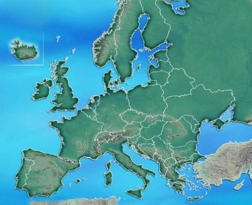 Cartina Muta Delleuropa Con Laghi E Fiumi