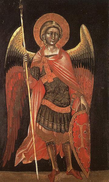 Angelo armato con lancia e scudo (Principato?)