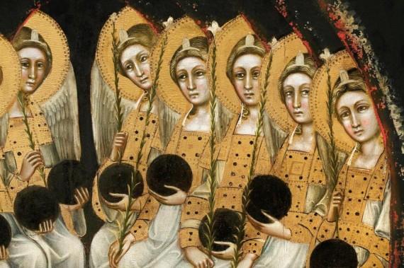 Gruppo di dieci Angeli  seduti con globo e flabello gigliato (Serafini?)