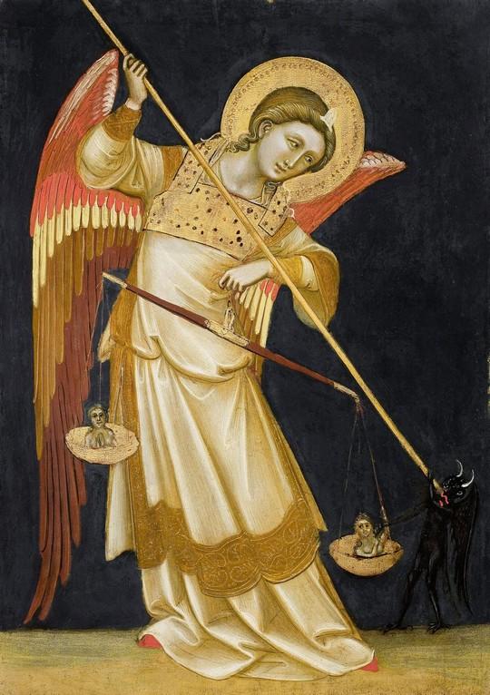 Angelo che pesa le anime e lotta con il diavolo
