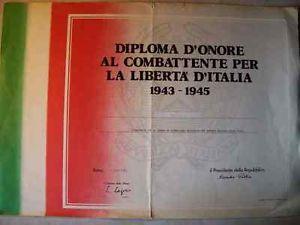 diploma di onore Sandro Pertini