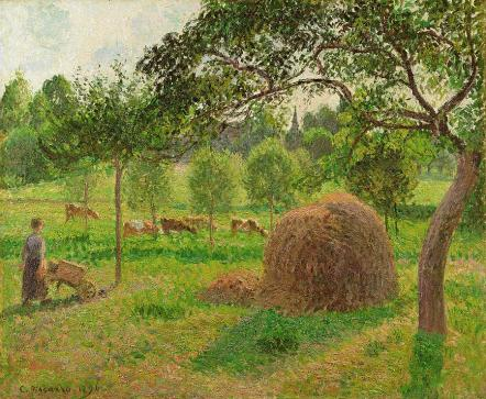 sunset-at-eragny-camille-pissarro